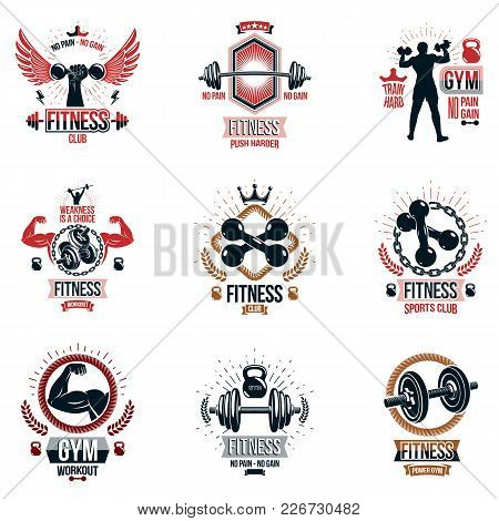 Vector Fitness Workout Theme Logotypes And Inspiring Posters Collection Created With Dumbbells, Barb