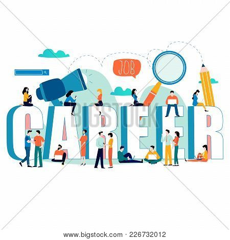 Job Search, Recruitment, Hiring, Employment, Freelance, Jobs, Career Concept. Flat Vector Illustrati