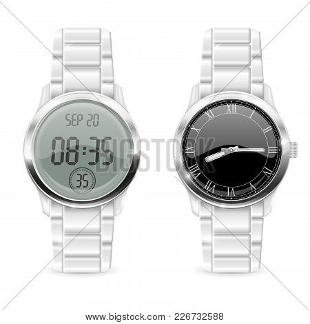 Men Watches. Analog And Digital, With Chrome Metallic Band. Vector 3d Illustration Isolated On White