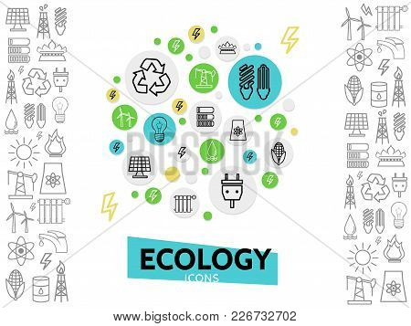 Ecology Line Icons Concept With Energy Safety Eco Electricity And Environmental Outline Elements Iso