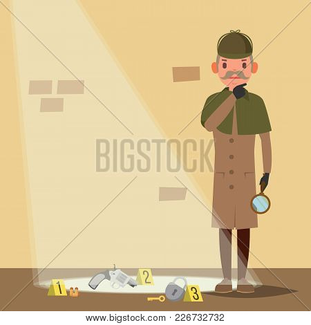 Crime Scene Vector. Snoop, Shamus, Spotter Flat Cartoon Illustration
