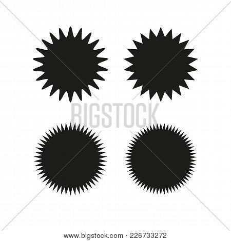 Set Of Vector Starburst, Sunburst Badges. Black On White Color. Simple Flat Style Vintage  Labels, S