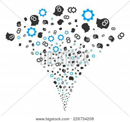 Intellect Gears Explosion Fountain. Vector Illustration Style Is Flat Iconic Symbols. Object Fountai