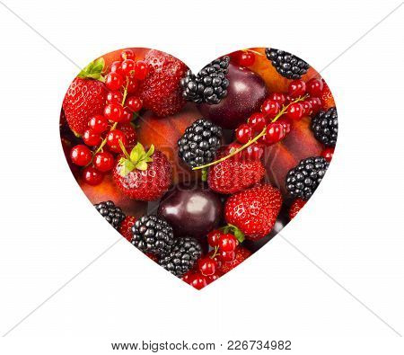 Berries In Heart Shape Isolated On A White. Heart Shape Assorted Berries And Fruits On White Backgro