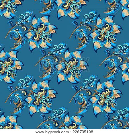 Beautiful Decorative Seamless Floral Ornament With Gold Flowers On A Blue Background For Design, Col