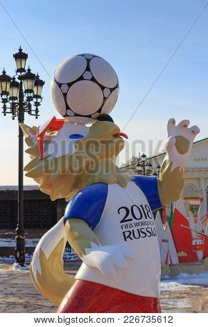 Moscow, Russia - February 14, 2018: Wolf Zabivaka The Official Mascot Of Championship Fifa World Cup