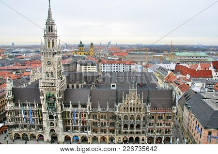 Munchen, Germany - March 16: Top View Of Cityhall And Skyline, Munchen On March 16, 2011.