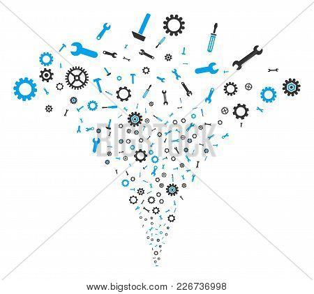 Repair Instruments Stream Fountain. Vector Illustration Style Is Flat Iconic Symbols. Object Fountai