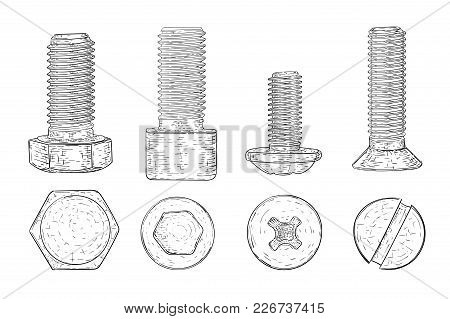 Metal Bolts And Screws. Hand Drawn Sketch. Vector Illustration Isolated On White Background