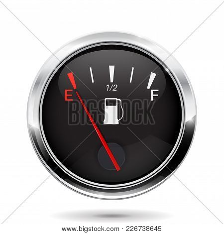 Fuel Gauge. Car Dashboard Sign With Empty Tank Indication. Vector Illustration Isolated On White Bac