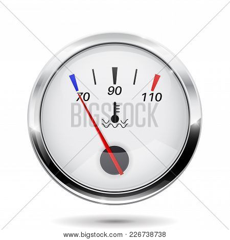 Temperature Gauge. Round Gauge With Chrome Frame. Vector Illustration Isolated On White Background
