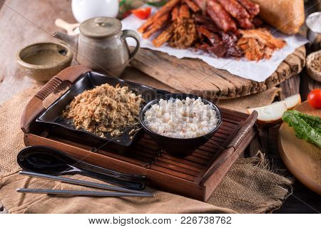 Dried Shredded Pork And Mush, Chinese Breakfast On Wooden Tray