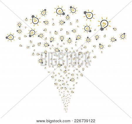 Light Bulb Fireworks Fountain. Vector Illustration Style Is Flat Iconic Symbols. Object Fountain Cre