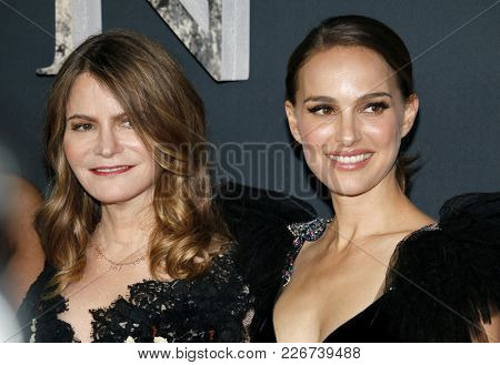 Jennifer Jason Leigh and Natalie Portman at the Los Angeles premiere of 'Annihilation' held at the Regency Village Theater in Westwood, USA on February 13, 2018.