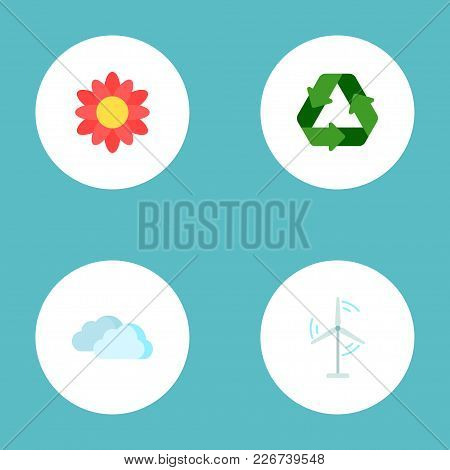 Set Of Green Icons Flat Style Symbols With Flower, Recycle, Cloud And Other Icons For Your Web Mobil