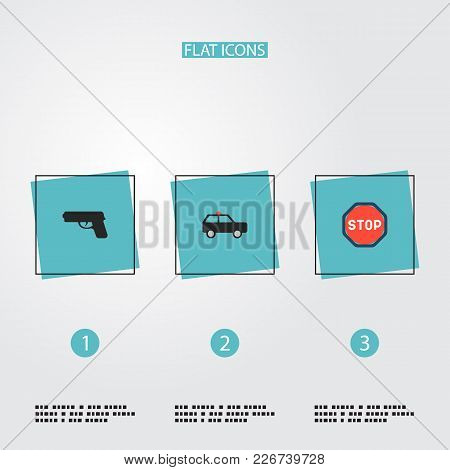 Set Of Safety Icons Flat Style Symbols With Suv, Weapon, Stop And Other Icons For Your Web Mobile Ap