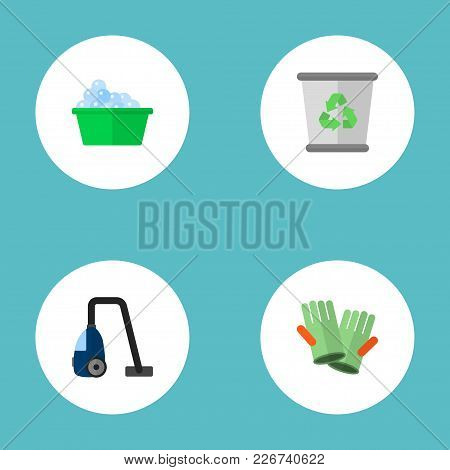 Set Of Hygiene Icons Flat Style Symbols With Vacuum Cleaner, Washcloth, Cleaning Gloves And Other Ic