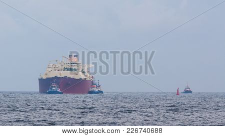 Gas Carrier - The Big Ship Enters Port Of Swinoujscie