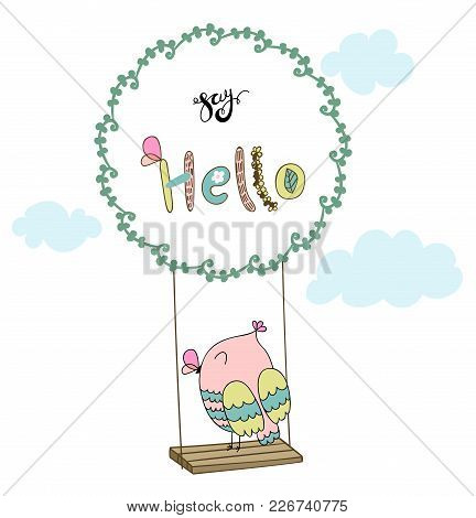 Card With Cartoon Owl On A Swing In The Clouds. Say Hello.
