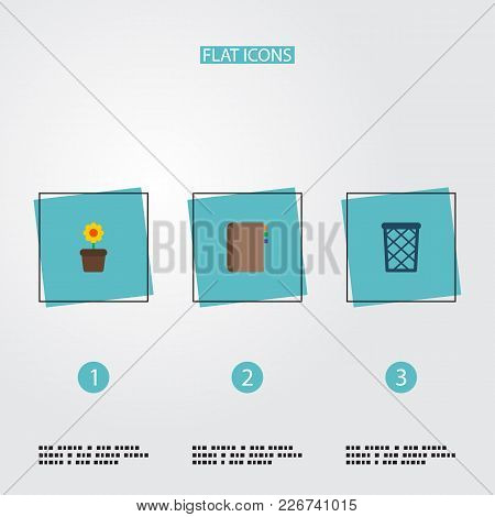 Set Of Workspace Icons Flat Style Symbols With Wastebasket, Flowerpot, Address Book And Other Icons