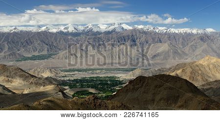View Of Leh From The Road To The Highest Mountain Khardongla Pass In The World That Can Be Reached B