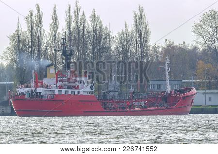 Bunkering Tanker - Auxiliary Ship At The Wharf