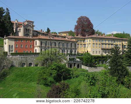 Historic Colorful Buildings And Park In Bergamo City In Italy At Lombardy Lombardia Landscapes With
