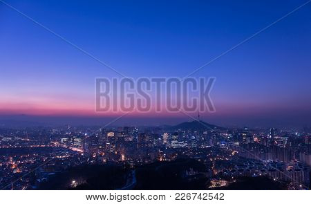 Seoul City Sunrise Skyline  Silhouette  With Seoul Tower.