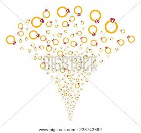 Ruby Ring Fireworks Fountain. Vector Illustration Style Is Flat Iconic Symbols. Object Fountain Cons
