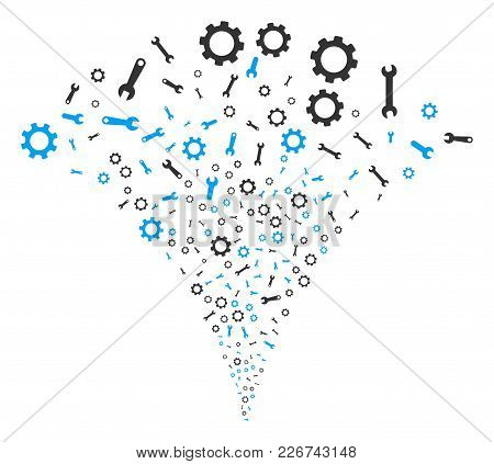Setup Tools Fireworks Fountain. Vector Illustration Style Is Flat Iconic Symbols. Object Fountain Co