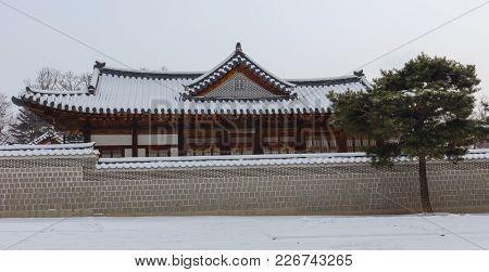 Winter At  Gyeongbokgung Palace In Seoul,south Korea.