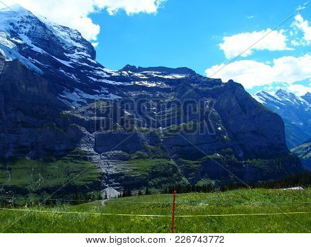 Alpine Mountains Range Landscapes Near Grindelwald Village In Beauty Swiss Alps In Switzerland With