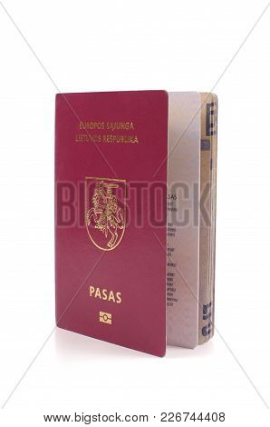 Lithuanian Passport Isolated On The White Background