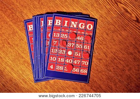 The Vintage Bingo Card On Wooden Table, Bingo Card