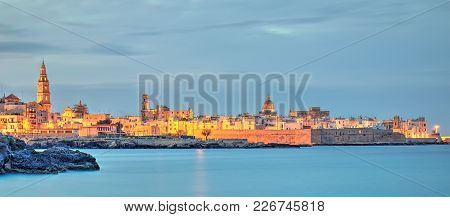 Monopoli Old Town View, Seascape, Evening, Harbor, Lights On