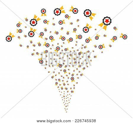 Certificate Seal Fireworks Fountain. Vector Illustration Style Is Flat Iconic Symbols. Object Founta