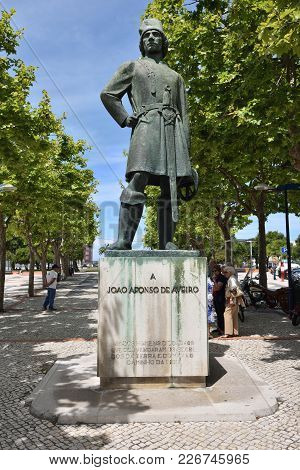 Aveiro, Portugal - June 10, 2017: Bronze Statue Joao (joan) Afonso De Aveiro Considered One Of The F