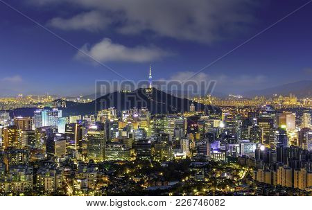 Seoul South Korea City Skyline At Night With Seoul Tower.