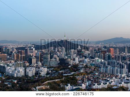 Seoul South Korea City Skyline With Seoul Tower.