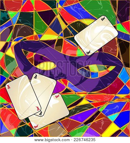 Abstract Background Carnival Purple Mask With Cards Colored Image Consisting Of Lines