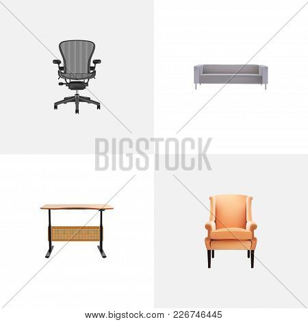 Set Of Design Realistic Symbols With Office Chair, Desk, Sofa And Other Icons For Your Web Mobile Ap