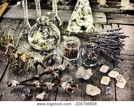 Magic Ritual Objects, Wooden Pentagram, Ancient Runes, Bottles And Herbs. Halloween, Occult, Esoteri