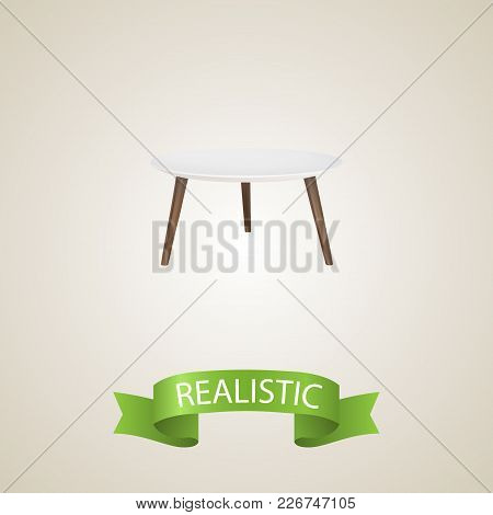 Round Table Realistic Element.  Illustration Of Round Table Realistic Isolated On Clean Background F