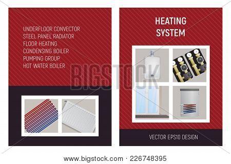 Heating System. Trench Convector, Pump Unit, Boiler, Steel Panel Radiator, Floor Heating. Design Vec