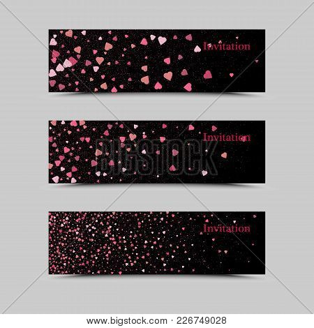 Gold Sparkles On Black Background, Banners. Gold Banner. Golden Background Text. Banners Logo, Web,