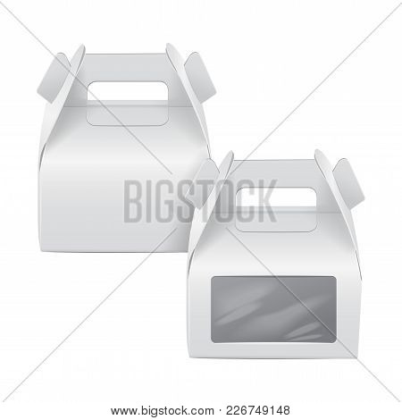 Realistic Paper Cake Package Set, White Box Mock Up, Gift Ontainer With Handle And Window. Take Away