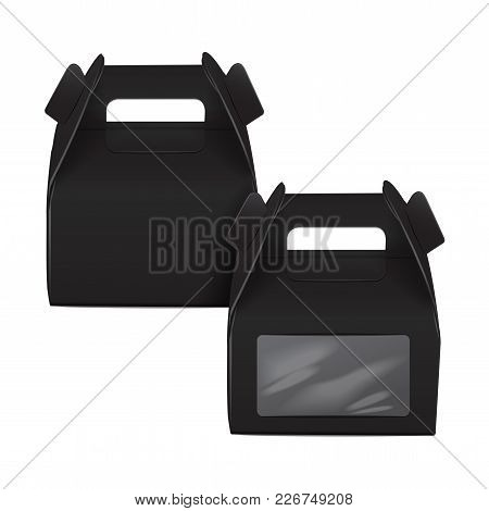 Realistic Paper Cake Package Set, Black Box Mock Up, Gift Ontainer With Handle And Window. Take Away
