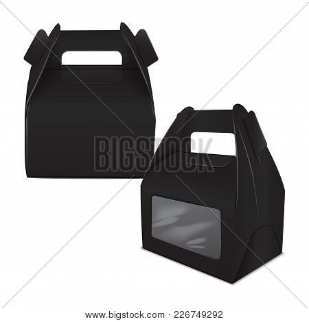 Set Of Realistic Paper Cake Package, Black Box Mock Up, Gift Ontainer With Handle And Window. Take A