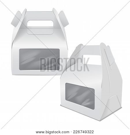 Realistic Paper Cake Package, Set Of White Box Mock Up, Gift Ontainer With Handle And Window. Take A