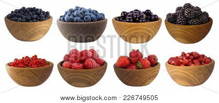 Blue-black And Red Fruits And Berries Isolated On White. Sweet And Juicy Berry With Copy Space For T
